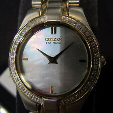 CITIZEN ECO-DRIVE STILETTO WOMEN'S WATCH DIAMOND MOP ALL S/S TWO TONE EG3154-51D