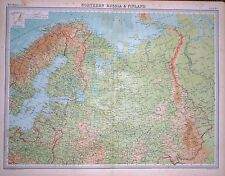 """1920 LARGE MAP ~ NORTHERN RUSSIA & FINLAND ~ 23"""" x 18"""""""