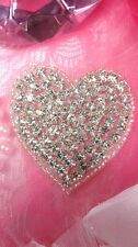JB101 Crystal Rhinestone Heart Beaded Applique Silver Beads Valentine Patch 2""