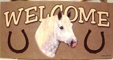 Welcome White Horse Wood Sign/Wall Plaque