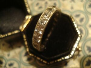 Pretty,Vintage,Finely Crafted 9CT Gold: Glittering Crystals Full Eternity Ring