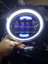 "Pair Black LED Halo drl Mega Bright Spot Lights 7"" Defender Jimny 160mm X 160mm"