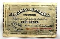 Spain-Guerra Civil. Billete. 50 Pesetas 1936. Banco de España, Santander. MBC/VF