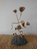 Vintage Gold Wire Flower On Stone label *NEW England ASTER East Coast* MCM Decor