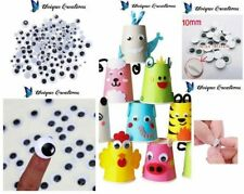 10mm 100pc Joggle Movable Black Eye Wiggly Google Googly Eyes Craft Stick On Art