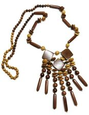 Three Diamonds Handmade Wooden Bohemian Ethnic Fringe Necklace Artisan Jewelry