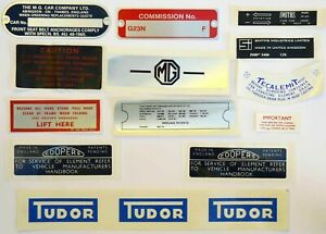 MGB Roadster Decal & Commission Plate Kit for MGB's from 1965 to 1967