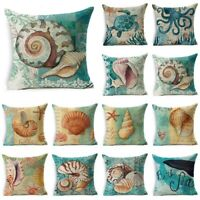 Retro Sea Animal Cotton Linen Pillow Case Sofa Cushion Cover Throw Home Decor