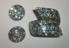 1950s Lucite Confetti Clamper Bypass Style Bracelet & Earrings, Blue Glitter
