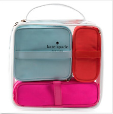 Kate Spade Travel Set, 3 Zippered Compartments Bags that tuck in Clear Case NEW