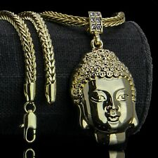 "Head Pendant 4mm 24"" Franco Chain Necklace 14k Gold Plated Hip Hop Buddha Plain"