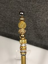 Hand Beaded Stylus - Gold with Coordinating Gold Beads