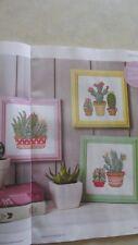 Cacti Trio full colour cross stitch chart designed by Angela Poole