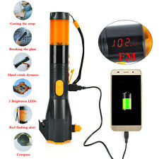 Camping 3 LED Flashlight Hammer USB Rechargeable Torch FM  Handfree Light 800mAh