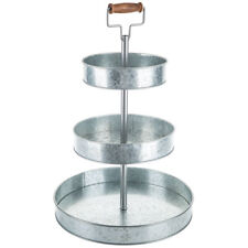 NEW Country Farmhouse Tray Stand Storage Organizer Three-Tier Galvanized Metal