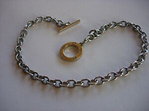 Gucci Icon 18k yellow gold and stainless steel toggle necklace w receipt