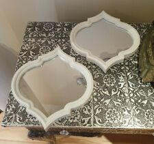 MOROCCAN ART DECO WHITE MIRRORS WALL ART X2