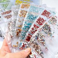 1728pcs Nail Art Rhinestones Glitter Diamonds Crystal Gems 3D Tips Decoration