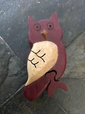 Hand Carved Owl  Wooden Puzzle Trinket  Box, Secret Compartment