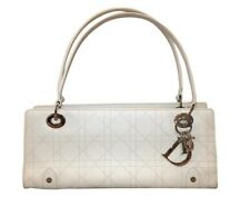 Authentic Christian Dior Lady Dior White Leather Tote