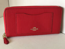 NEW! COACH ACCORDION ZIP AROUND CROSSGRAIN LEATHER WALLET $250 CARDINAL RED