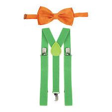 St Patrick's Day Green Braces & Orange Bow Tie Fancy Dress