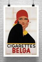 Cigarettes Belga 1930 Art Deco Tobacco Poster Giclee Print on Canvas or Paper