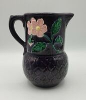 "Majolica Style Pitcher Deep Purple 6"" Quilted with Pink Flowers Pottery"