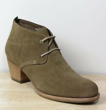 M&S INDIGO Real SUEDE Cuban Heel LACE-UP ANKLE BOOTS ~ Size 7.5 ~ MINK