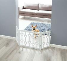 Free Standing Pet Gate Indoor Wood 3 Panel White Adjustable Dog Barrier Gates