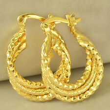 Authentic 9K Yellow Gold Filled Embossed Womens Hoop earing Free Shipping