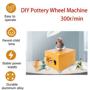 DIY Clay Wheel Pottery Wheel Machine 300r/min Pottery Drawing with Power Adapter