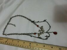 Gothic Style Vampire Hunter Cross Rhinestones Bat Red Halloween Necklace OOAK
