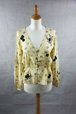 TOPSHOP Womens Yellow Embroidered Floral Casual Blouse Long Sleeve Size 12 BNWT