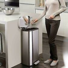 8 Gallon Kitchen Step Trash Can Stainless Steel Garbage Can Silent Step Bin
