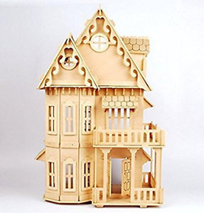 """NWFashion Childrens 17"""" Wooden 6 Rooms DIY Kits Assemble Miniature Doll House"""
