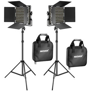 Neewer 2 Pack Bi-color 660 LED Video Light and Stand Kit for Studio Photography