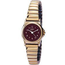 Limit Classic Burgundy Dial Gold Plated Expander Bracelet Ladies Watch 6985