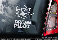 DRONE PILOT - Car Window Sticker - Drones Sign Quadcopter Vinyl Decal RC -V4