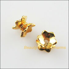 40Pcs Gold Plated Flower End Bead Caps Connectors 5x7mm