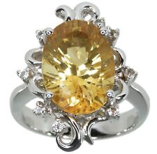 Citrine Gemstone 5.27 carats Oval Baroque Design Sterling Silver Ring size M