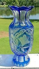 ANTIQUE RARE BOHEMIAN COBALT BLUE CUT TO CLEAR TALL VASE ETCHED FLOWERS