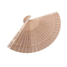Wooden Handmade Art Chinese Wood Folding Hollow Hand Hold Fan Favor Gift one