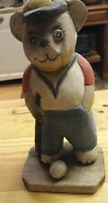 Vintage Wooden Painted Bear Playing Golf