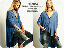 $78 FREE PEOPLE We The Free Benedict Canyon Oversized Flowy Henley Tunic Top XS