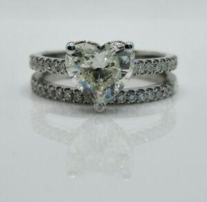 2.22ct Heart Engagement ring /Diamond Wedding Band (set)
