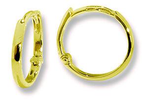 Classic 18k Gold Tiny Round Hoop Huggie Earrings 14mm Lever Backs