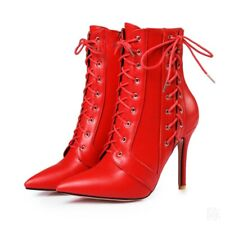 Size 34-47 Womens High Heel Stilettos Pointy Toe Criss Cross Lace Up Ankle Boots