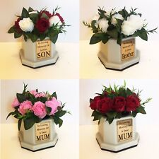 Personalised Memorial Vase, Roses & Gold Plaque Red/White/Pink Grave Flower Pot