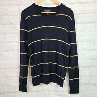 Banana Republic Men's Medium Sweater Blue Yellow Striped Merino Wool V-Neck